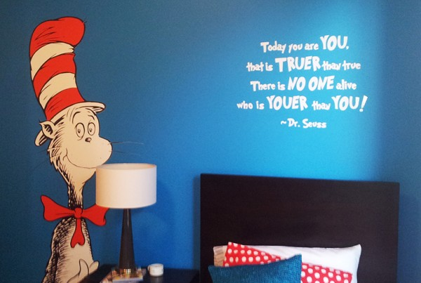 Cat in the Hat wall Tattoo and white vinyl